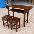 国学课桌 实木 国学桌仿古书法桌双人书画桌中式培训桌椅马鞍桌椅