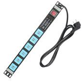 Gowone 購旺 PDU機柜插座 工業插排 多用孔接線板 服務器電源分配單元 1U供電底座 12位USB供電母座 防雷抗浪涌 UF6 2米