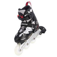 【美洲狮COUGAR】MZS835L-QS溜冰鞋 儿童男女轮滑鞋滑冰鞋 可调码旱冰鞋 闪电黑白不闪