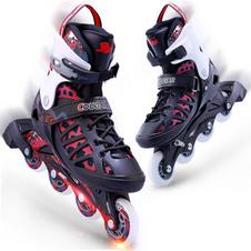 【美洲狮COUGAR】MZS308N 溜冰鞋成人轮滑鞋青少年可调码男女直排滑冰旱冰鞋 欧盟品质 黑红