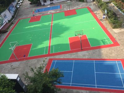 运动球场悬浮拼装地板篮球场塑胶地板
