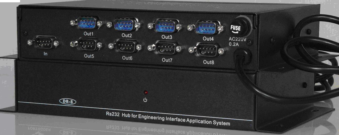 输出控制型1进8出RS232集线器
