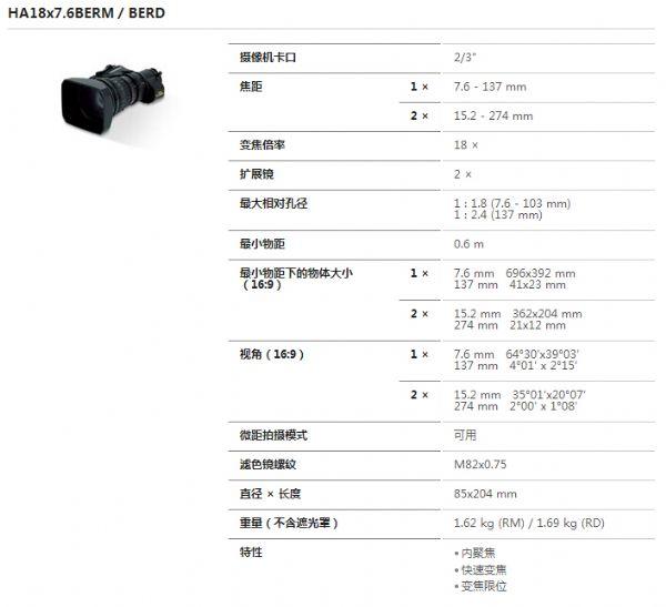 富士HA18x7.6BERD高清镜头
